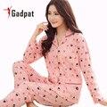 Gadpat Mulheres Outono Inverno Pijama Macio E Confortável Impressão Casa Terno Pijama De Algodão Mulheres Pijamas Plus Size Pijamas de Mulher