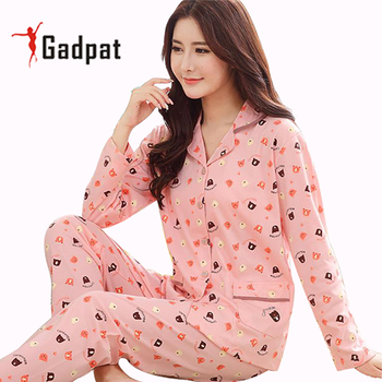 Gadpat Women Autumn Winter Pajamas Soft Comfortable Printing Home Suit Women Cotton Pyjama Sleepwear Plus Size Pajamas Woman pajamas