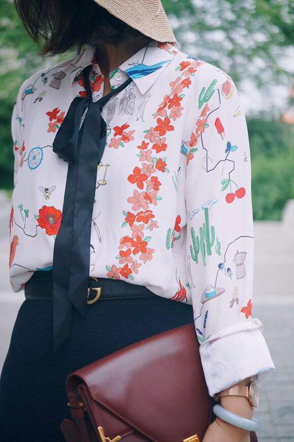 Star style 100 silk cute plant print long sleeve ladies ribbon bow font b shirt b