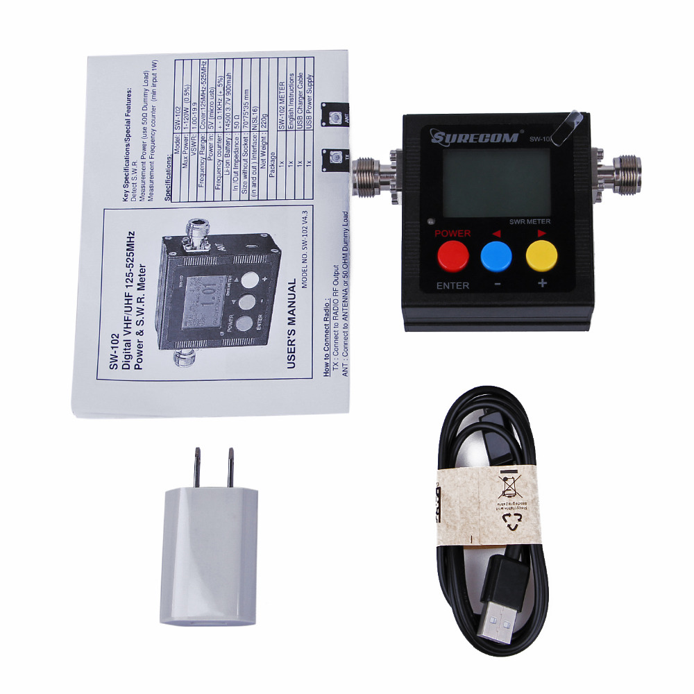 Image 5 - New SWR Meter for Walkie Talkie SW 102 VSWR 1.00 19.9 Digital VHF/UHF 125 525MHz Power &SWR Meter Radio Comunicador-in Walkie Talkie from Cellphones & Telecommunications