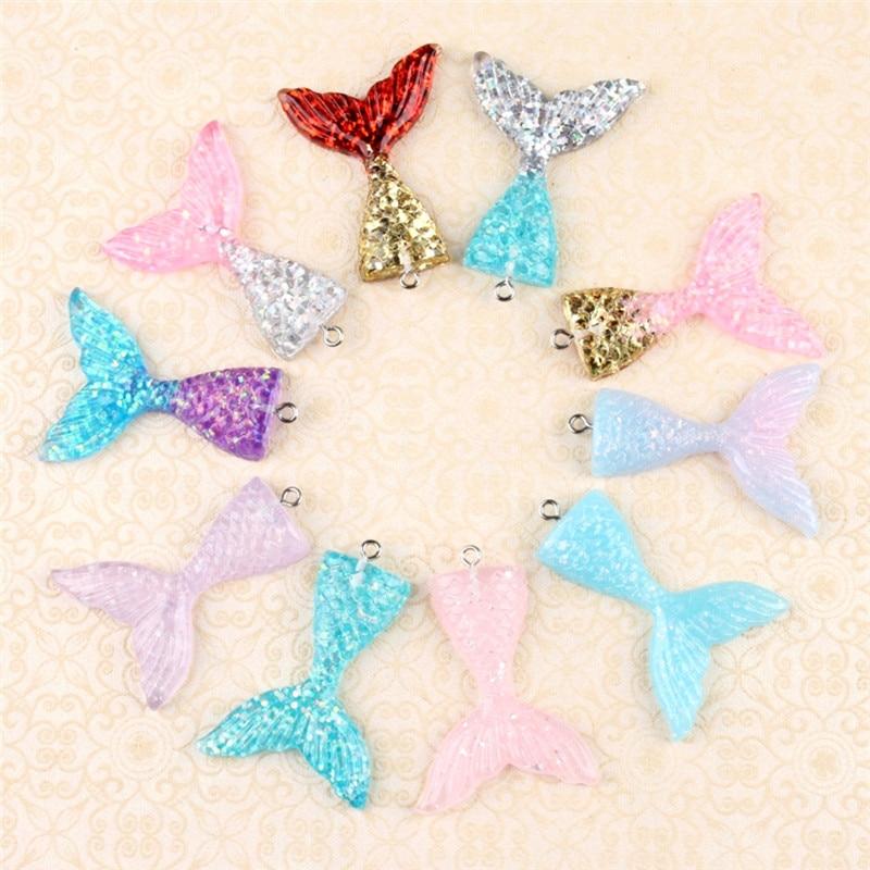 10Pcs/lot Kawaii Multicolor Mermaid Tail Pendants Charms for DIY Decoration Neckalce Earring Key Chain Jewelry Making