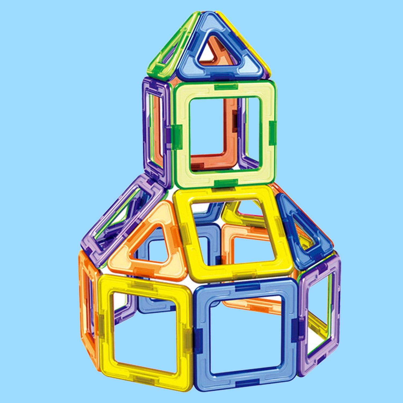 30 pcs Triângulo Praça Empilhamento de Tijolos de Construção Blocos de Construção Magnético 3D Ímã Brinquedo Educativo Jigsaw Modelo