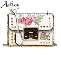 Aelicy Women Embroidered Flower Flap Bag Fashion Designer PU Leather Chains Messenger Bag Ladies Small Shoulder
