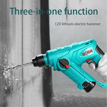 12V 2000mAh Electric Hammer Brushless Cordless Lithium-Ion Drill Perforator impact hammer with LED light
