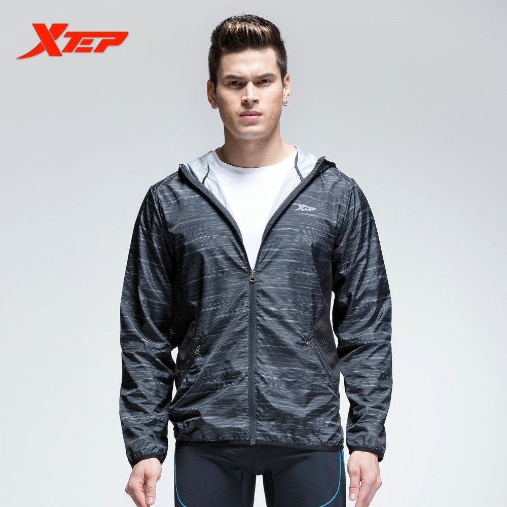 XTEP Mens Sport Jacket Zipper Hooded Athletic Suits For MAN Running T Shirt Fitness Quick Dry Sportswear Clothing Hoodie