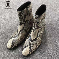 Exclusive Personalized Handmade Embossed Serpentine High Top Denim Chelsea Boots Western Luxury Wedge Men Zip Boots
