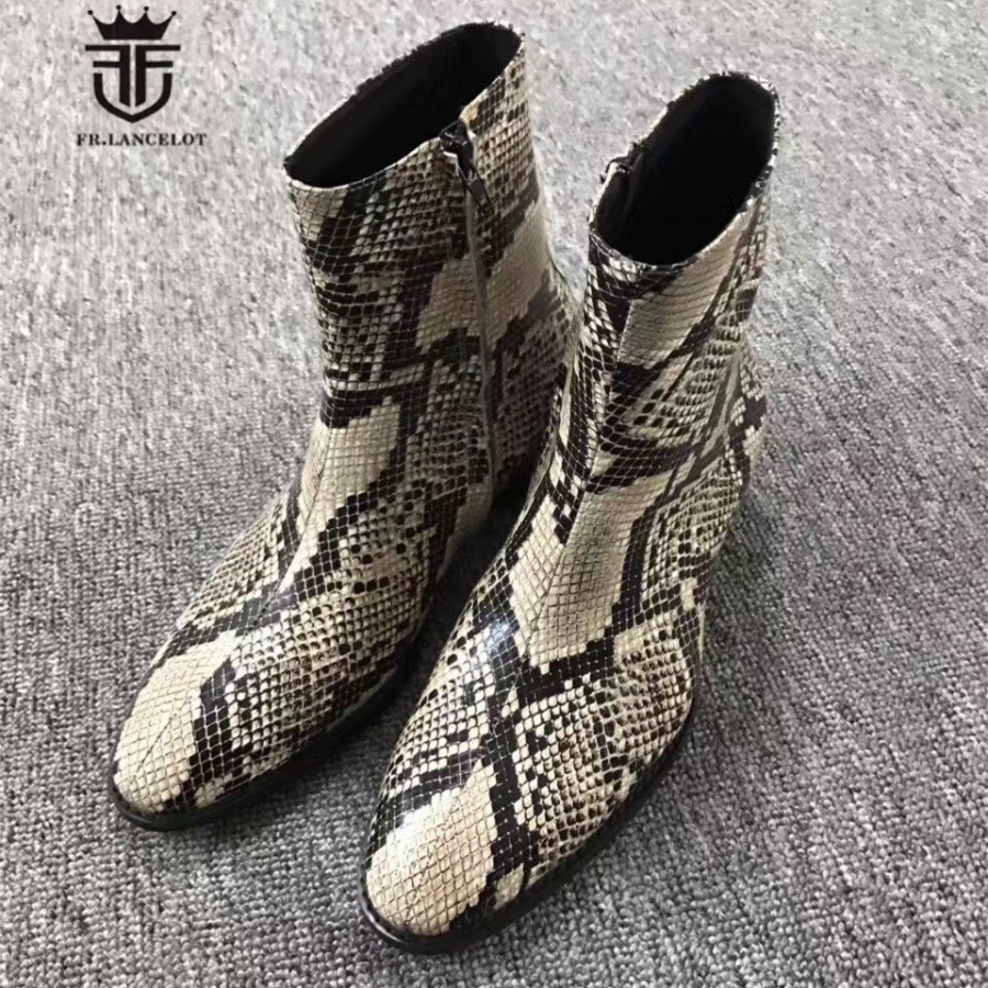 Exclusive Personalized Handmade Embossed Serpentine High Top Denim Chelsea Boots Western Luxury Wedge Men Zip Boots luxury handmade genuine leather zip slim wedge personalized high heel boots new chelsea boots