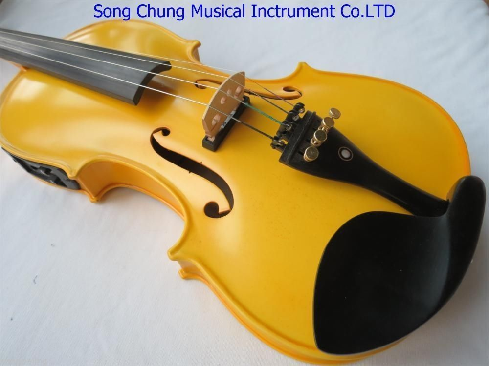 Handmade New Excellent Yellow Colors Electric & Acoustic Violin 4/4 Violino With Case Bow String Instrument 4 string 4 4 3 4 new electric acoustic violin yellow 1