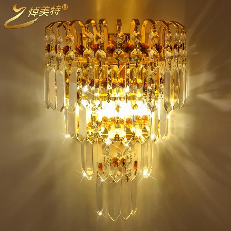 купить High quality crystal wall lamp living room lights gold fashion led wall lights bed-lighting modern по цене 6648.22 рублей
