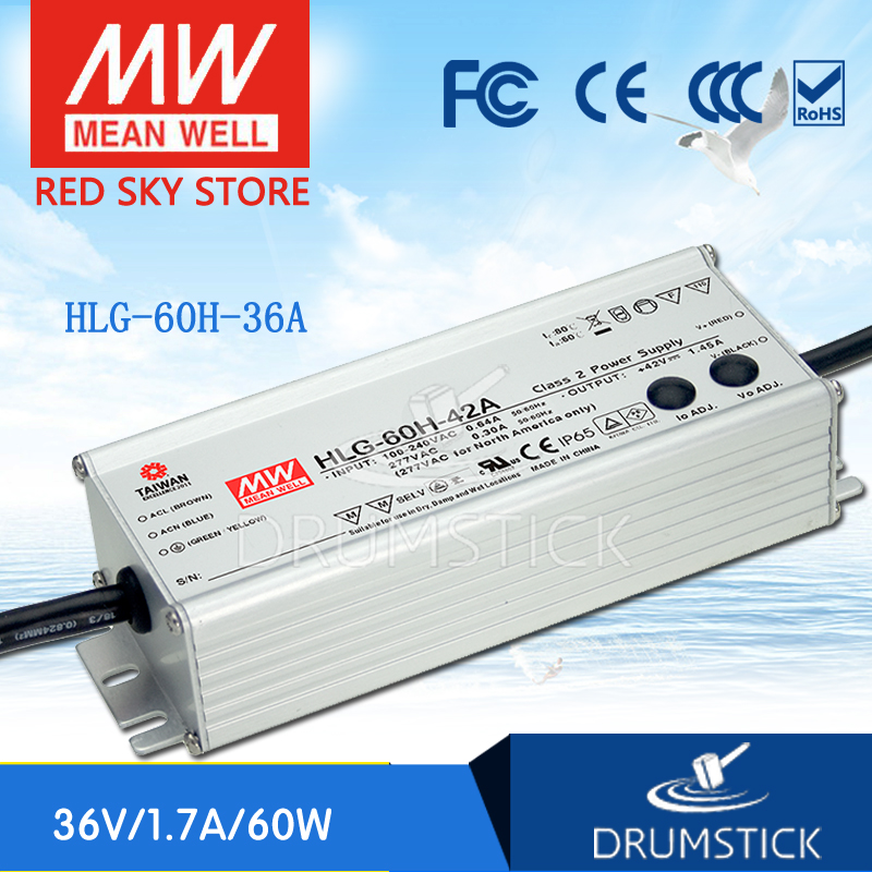 Best-selling MEAN WELL original HLG-60H-36A 36V 1.7A meanwell HLG-60H 61.2W Single Output LED Driver Power Supply A type genuine mean well hlg 320h 36b 36v 8 9a hlg 320h 36v 320 4w single output led driver power supply b type