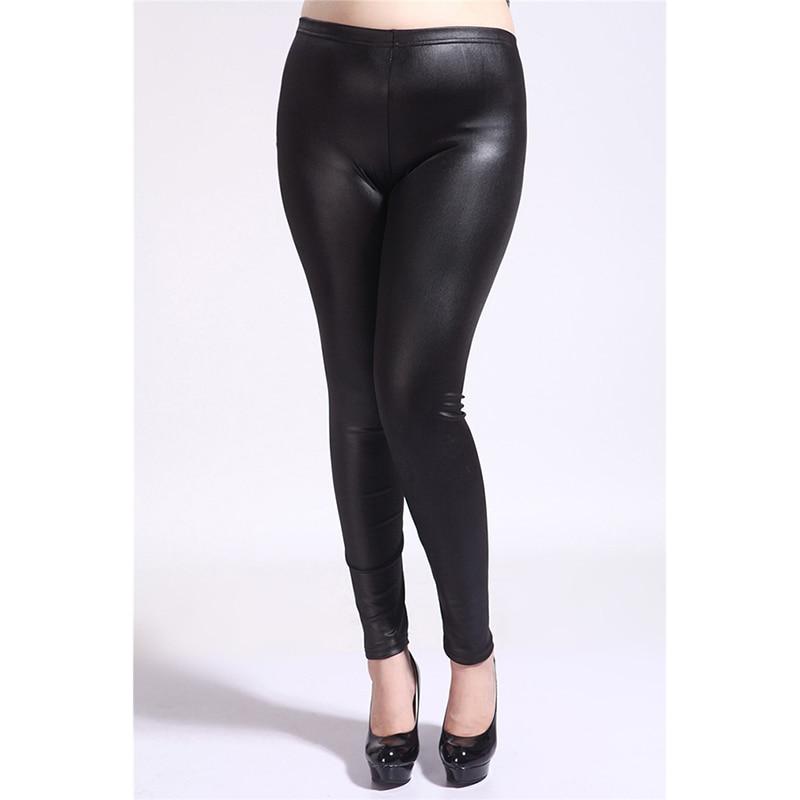 Plus Size 5XL Leggings Women PU Leather Pants 2019 High Elastic Waist Leggins Casual Slim Mujer