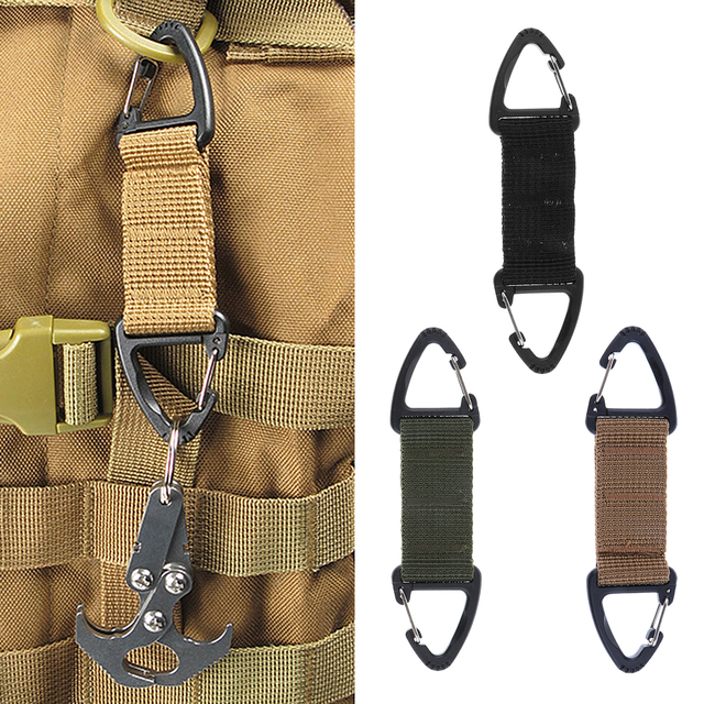 Climbing Accessories Webbing Double Ended Triangular Carabiner Clip Outdoor Hiking High Strength Nylon Spring Snap Hook 3Colors