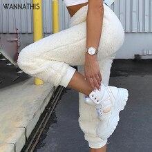 Wannathis macio feminino plush pant lounge flanela mais grosso outono inverno new2019 sólido streetwear bodycon harem calças