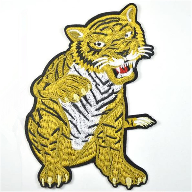 Clothing diy embroidery animal patch deal with it 18cm tiger kids biker patches for clothes flower stickers fabric free shipping