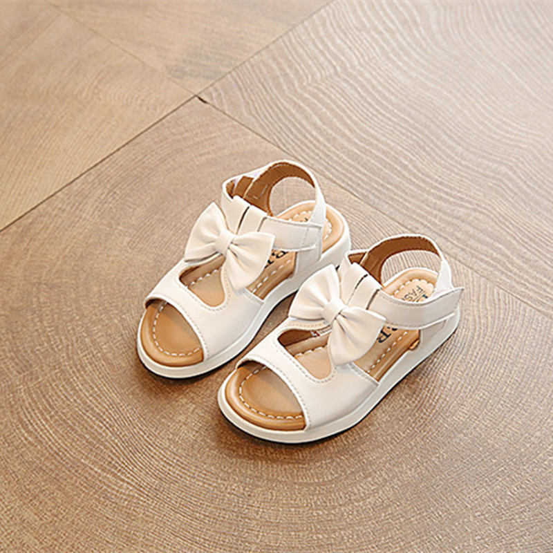 2017 New Summer baby girl Shoes Toddler children Girls Sandals Kids PU Leather Sandals peppa shoes for chaussure enfant white pi