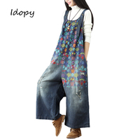 Idopy Women`s Floral Jumpsuit Loose Fit Baggy Japanese Style Flower Printed Length Casual Bib Overalls For Girls