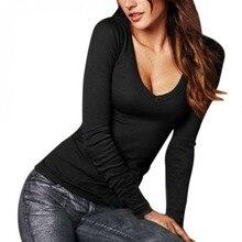 2019 Sexy t shirt women Long Sleeve T-Shirt V-Neck Slim Fit Warm Autumn Spring Basic T-Shirts