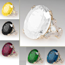 European and American Fashion Hot Sale Bohemia Proposal Egg Shape Multicolor Ring Electroplated Yellow Gold Jewelry