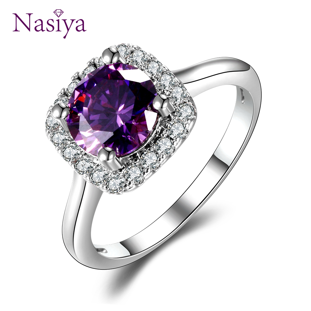 Nasiya Classic Halo Created Amethyst Engagement Rings For Women Sterling Silver 925 Lab Grown Purple Gemstone Ring
