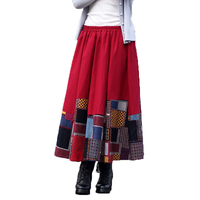 Fashion Autumn Women Skirt Loose Splice Long Skirts Casual Patchwork Cotton Linen Skirt Baggy Vocation Vintage