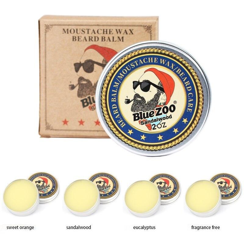 60g bleu Zoo 100% naturel homme barbe huile baume Moustache cire crème hydratante barbe croissance cire pour coiffer cire dabeille