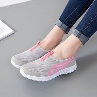 Обувь женская обувь на плоской подошве 2019 г. Модный дышащий сетчатый кроссовки на плоской подошве женская обувь однотонная повседневная же...
