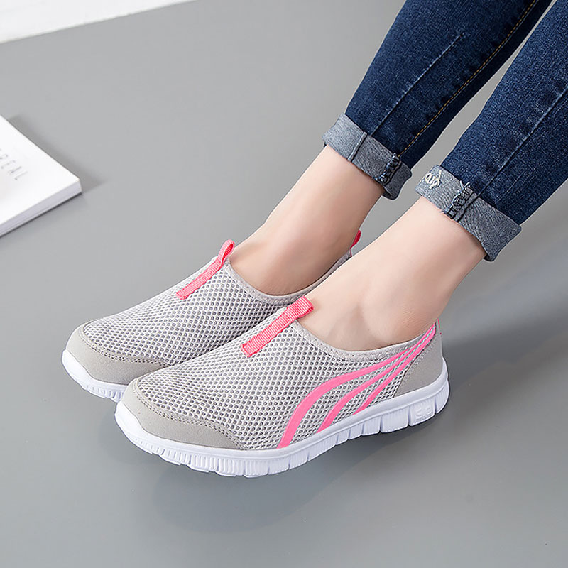 Shoes Woman Flats 2019 Fashion Breathable Mesh Flat With Sneakers Women Shoes Solid Casual Ladies Shoes Slip-on Women Sneakers
