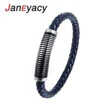 Женский браслет из нержавеющей стали janeyacy синий кожаный