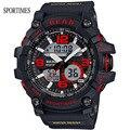 НОВАЯ Мода SPORTIMES Двойной Дисплей Военные Наручные Часы С Большой Дейл Подсветка Секундомер Для Школы Мужчин S-Shock часы