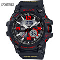 NEW Fashion SPORTIMES Dual Display Military Wristwatches With Large Dail Back Light Stop Watch For School Men S-Shock Watch
