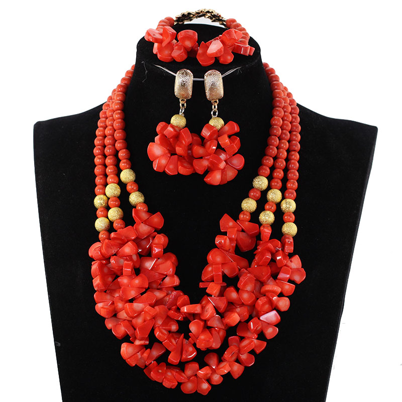 Amazing New African Coral Beads Wedding Jewelry Set Coral Bib Pendant Bridal Jewelry Set New Set Free Shipping CNR356Amazing New African Coral Beads Wedding Jewelry Set Coral Bib Pendant Bridal Jewelry Set New Set Free Shipping CNR356
