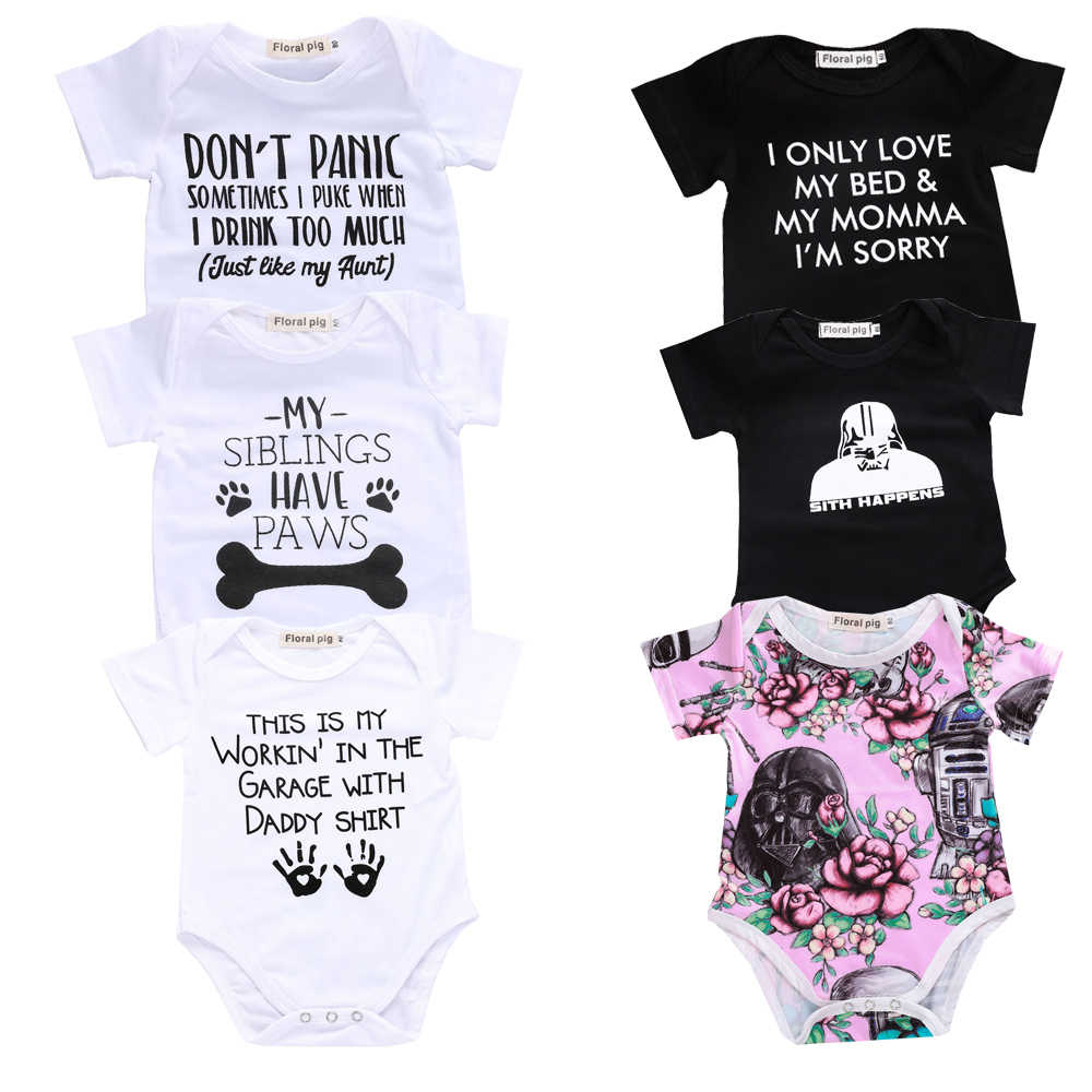 47e2383e9 2018 Newborn Baby Clothes Funny 1st Birthday Daddy Letter White Short  Sleeve Baby Bodysuits Tiny Cotton