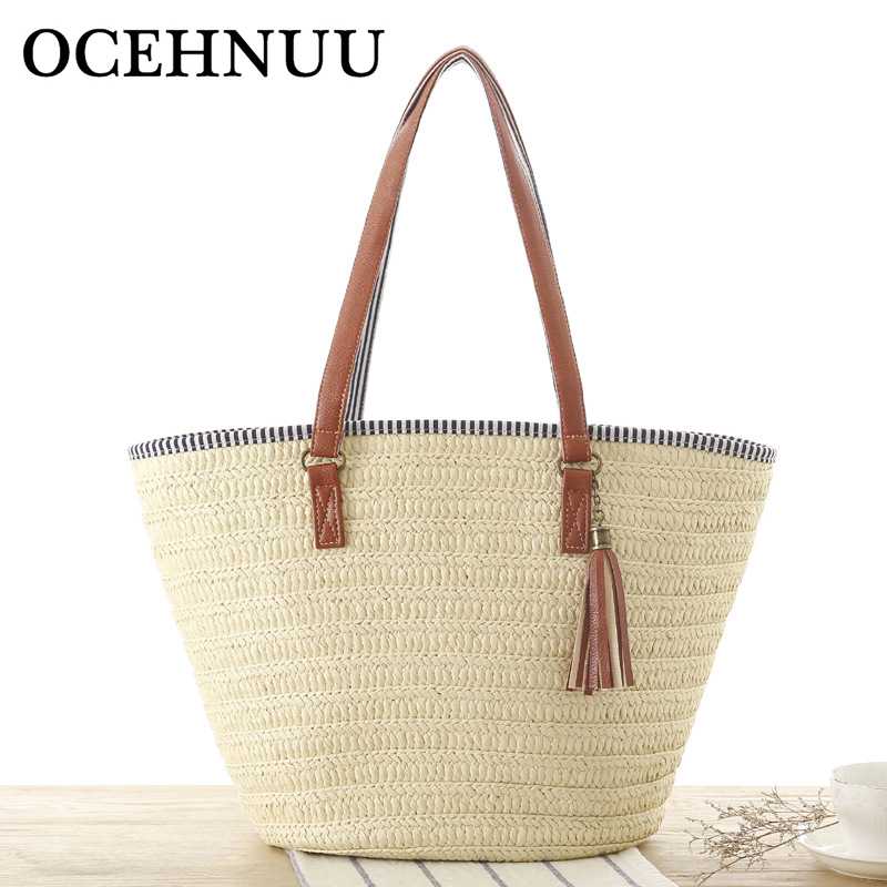 Luggage & Bags 2018 High Quality Durable Straw Bag Women Casual Handbag Summer Holiday Shoulder Bag Ladies Weaving Bucket Beach Shoulder Bags And To Have A Long Life.
