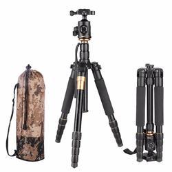 QZSD Q666 Tripod With Q-02 360 Degree Swivel Fluid Head for nikon Canon Pentax Sony Olympus Camera Aluminium Flexible Tripod