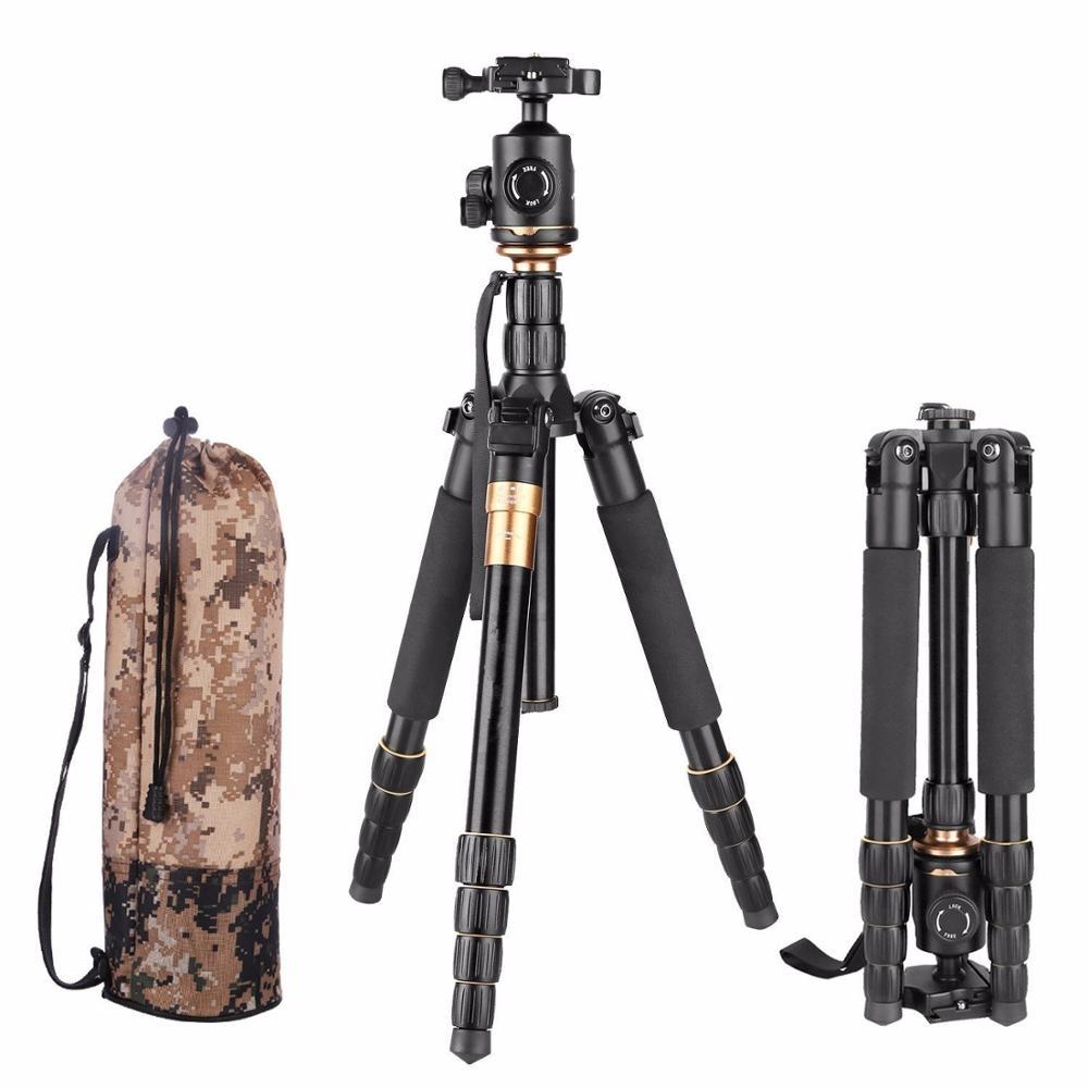 QZSD Q666 trépied avec Q-02 tête fluide pivotante à 360 degrés pour nikon Canon Pentax Sony Olympus caméra trépied Flexible en Aluminium