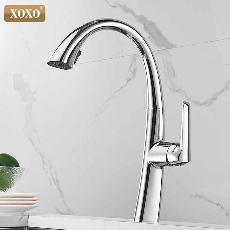 XOXO Kitchen Faucet Pull Out Cold and hot Chrome Kitchen Tap Single Handle 360 Degree Water