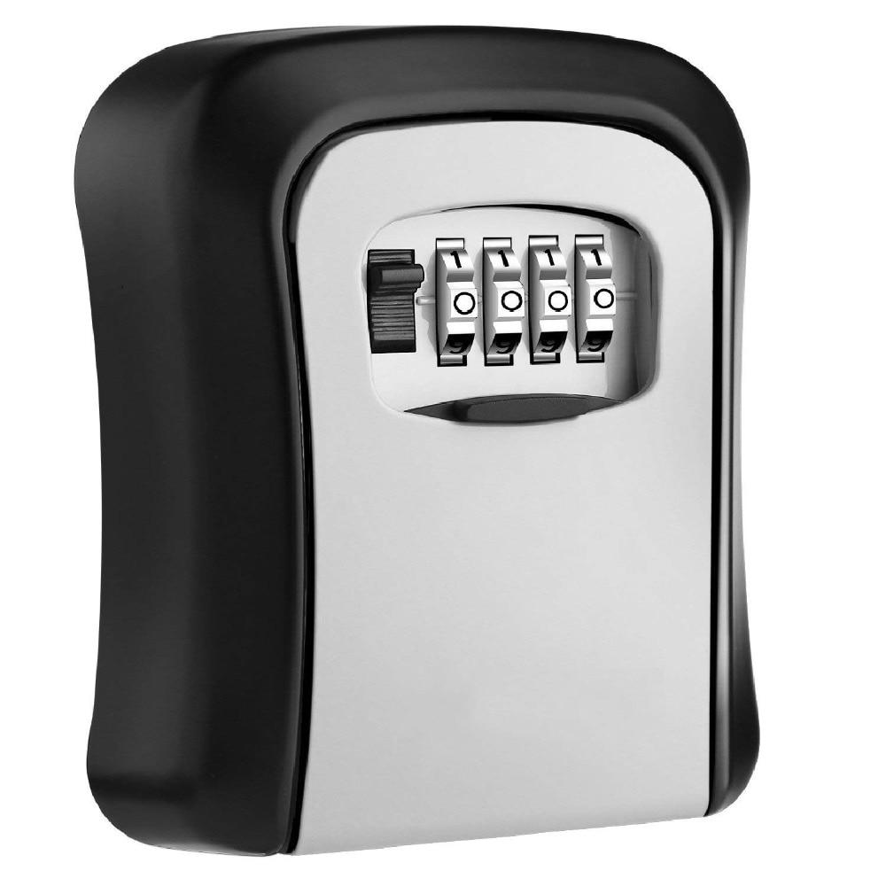 Key Lock Box Wall Mounted Stainless Steel Key Safe Box Weatherproof 4 Digit Combination Key Storage Lock Box Indoor Outdoor