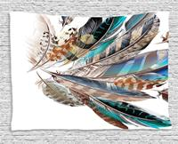Feather House Decor Tapestry Types and Natal Contour Flight Feathers Animal Skin Element Print Wall Hanging for Bedroom