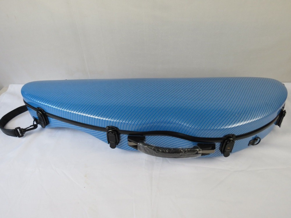 Rare cambrure modle bleu fibre de carbone matériau composite étui pour violon 4/4