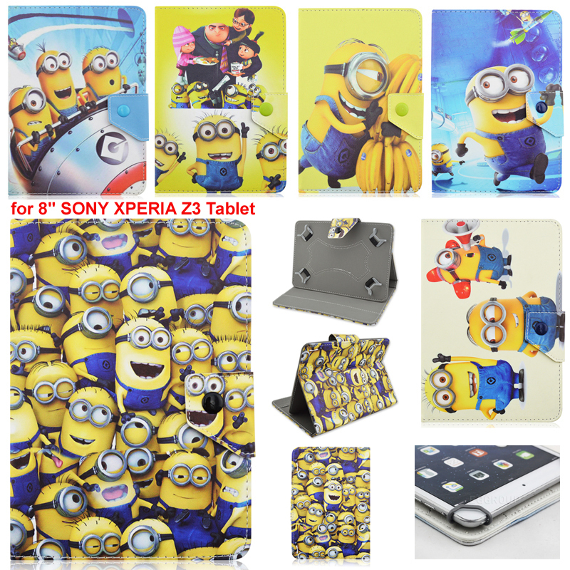AIBOULLY Cartoon yellow minion minions PU Leather Case Cover for 8 SONY XPERIA Z3 Tablet Stands Holder