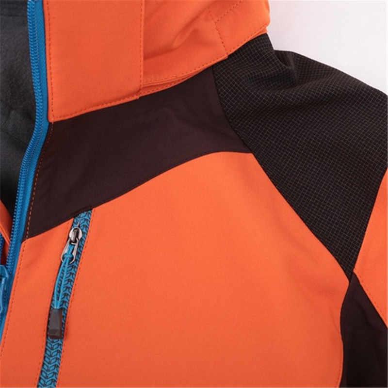 Facecozy 女性 & 男性冬の屋外フードパッチワークソフトシェルジャケットハイキング & スキージャケット秋防風インナーフリースキャンプ服