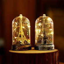 Creative Paris Tower Light Decoration with LED lights in a glass dome suitable for wedding party Valentines Day Gift