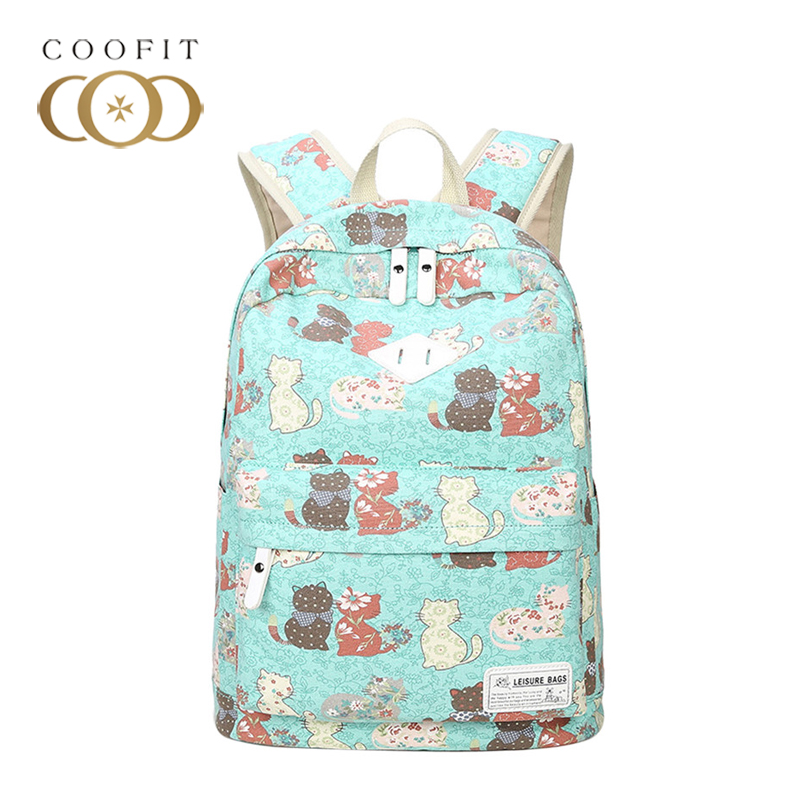 coofit Casual Backapck For Women Lovely Cat Pattern Printing Backpack Large Capacity Can ...