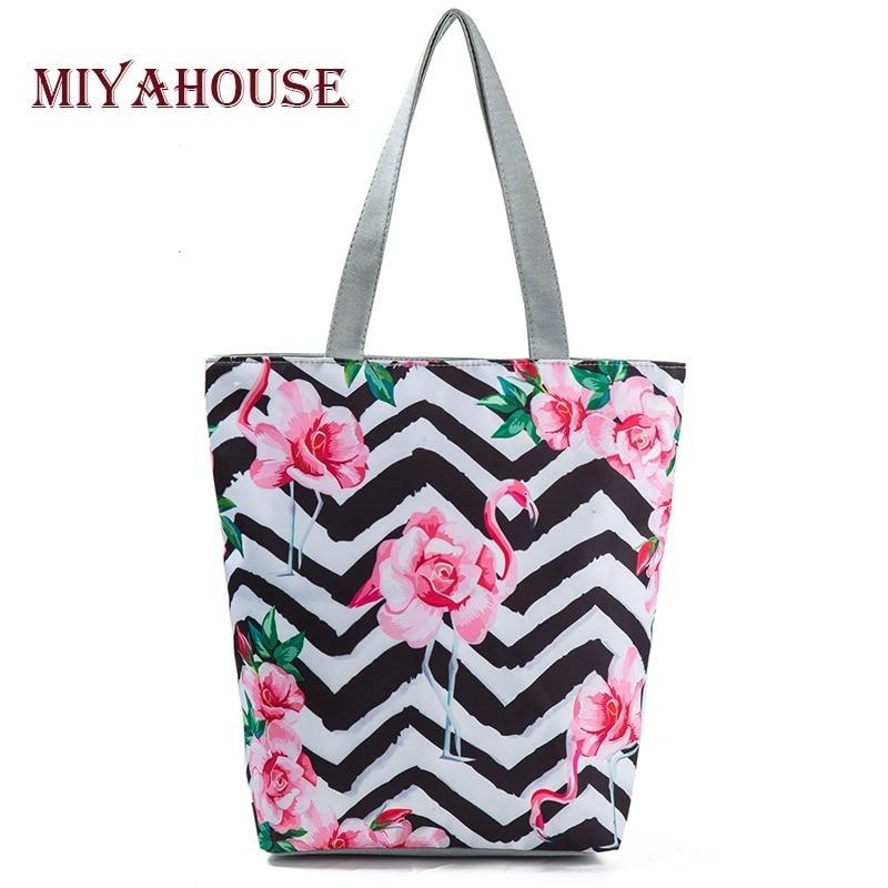 4 Colors Unique Canvas Tote Handbag Female Cartoon Floral Print Shoulder Shopping Bag Ladies Casual Beach Bags