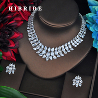 HIBRIDE Brilliant Clear Cubic Zironia Bridal Jewelry Sets For Women Set Dress Accessories Dubai Jewelry Necklace Set N 584