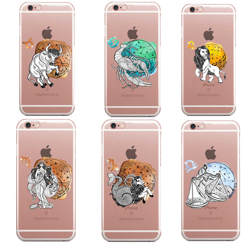 Cartoon zodiac sign Soft silicone TPU thin transparent Phone Case Cover for iphone 5 5S SE 6 6S Plus 7 7 Plus 8 8 Plus X 10