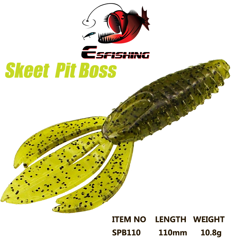 Esfishing Lures New 2017 Fishing Lure Soft 5pcs 11cm/10.8g Hot Skeet Pit Boss 4.3Tackle Trolls Silicone Bait Spinner Bait