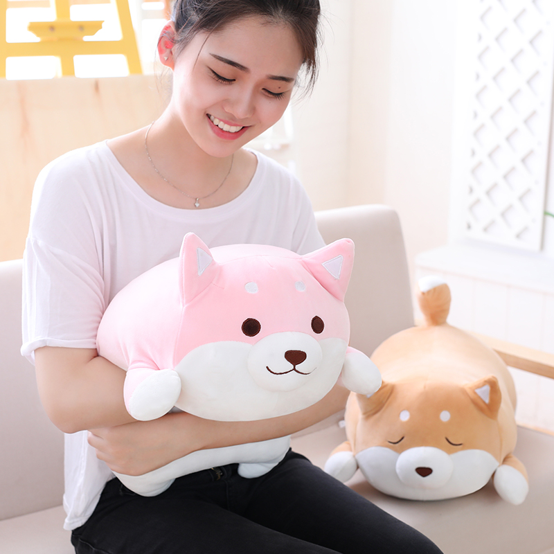 Hanhanho 36cm Simulation Dog Plush Kids White Brown Toys Soft Stuffed Animal Sleeping Dolls Birthday Gifts Pet Dog