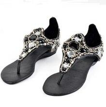 plus size 35-41 women thong sandals diamante rhinestone clip toe flat sandals summer beach casual flip flops shoes black white