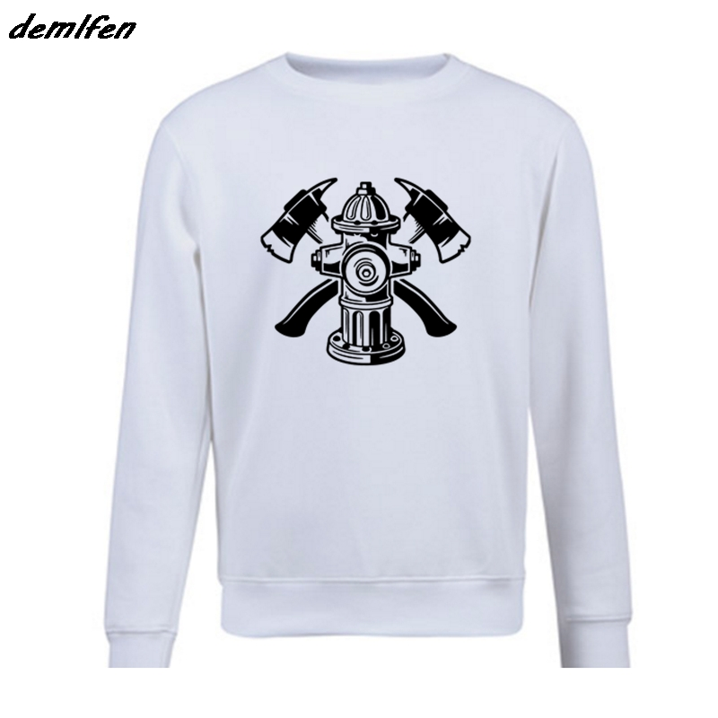 Spring autumn Fashion Casual Men O-Neck Fleece Sweatshirt Firefighter Logo Shirt, Rescue Axes Fire Hydrant Emergency hoodie Coat